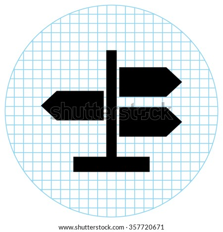 Road direction sign  - black vector icon - stock vector