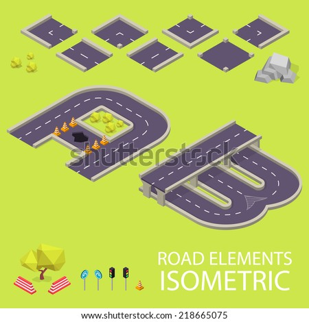 Road elements isometric. Road font. Letters A and B - stock vector