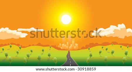 Road go to city - stock vector