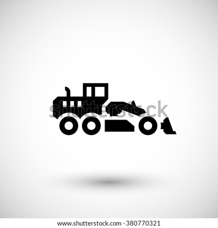 Road grader icon isolated on grey. Vector illustration - stock vector