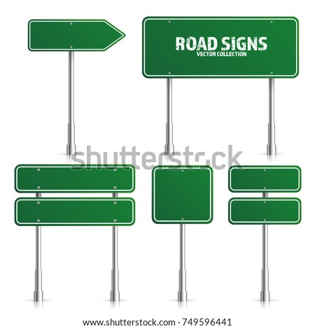 Road green traffic sign. Blank board with place for text.Mockup. Isolated on white information sign. Direction. Vector illustration.