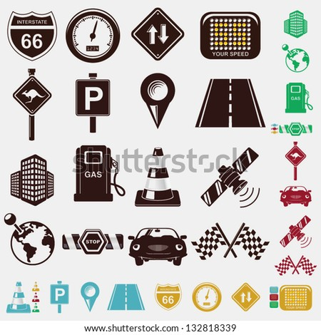 road icon set - stock vector