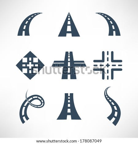 Road icons set - stock vector