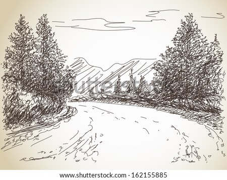 Road in countryside Hand drawn landscape - stock vector