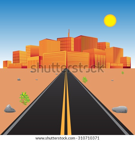 Road in the desert with view of the city skyline. Conceptual vector illustration in flat design for web sites, Infographic design - stock vector