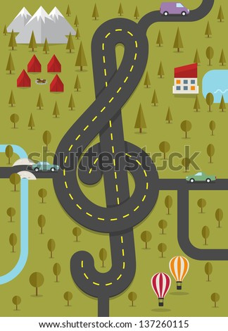 Road in the shape of treble clef. Vector illustration. - stock vector