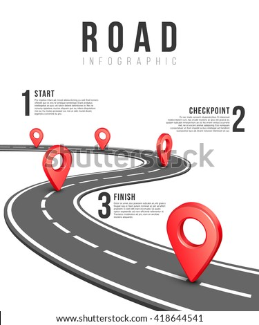 Road infographic vector template. Road information chart, creative traffic road infigraphic banner illustration - stock vector
