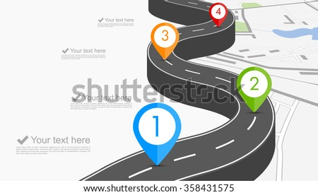Road infographic with colorful pin pointer vector illustration - stock vector