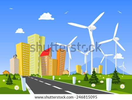 Road into the city around wind power station. Vector - stock vector