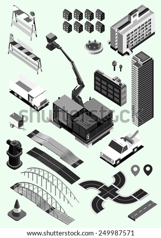 road kit set isometric. info graphic, brochure, information.black and white - stock vector