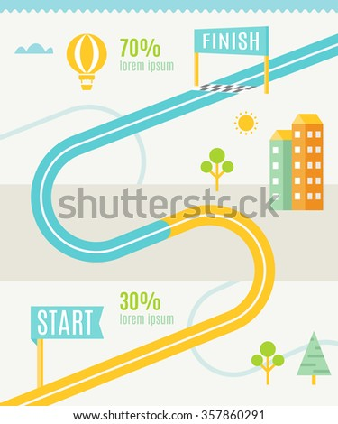 Road Map Infographics Template - stock vector