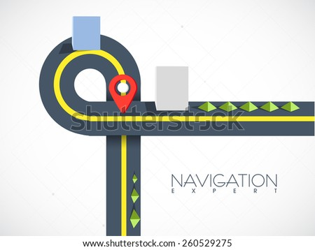 Road map navigation with red pointer on grey background. - stock vector