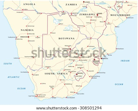 Road map southern africa stock vector 308501294 shutterstock road map of southern africa gumiabroncs Choice Image