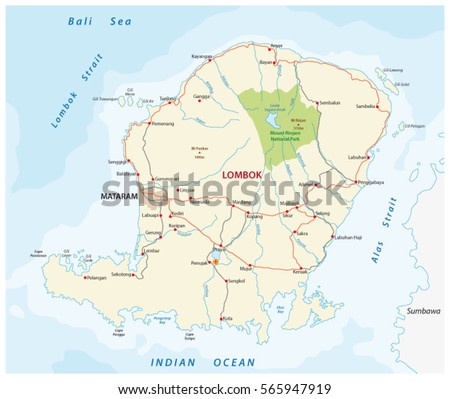 Road Map Indonesian Island Bali Stock Vector 541445998 Shutterstock