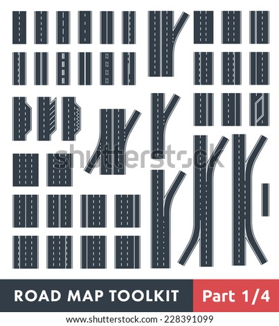 Road Map Toolkit. Part 1 of 4: Basic Elements of the Road and Turns - stock vector