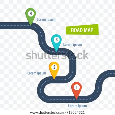 Road Map Colorful Bright Marks Markers Stock Vector