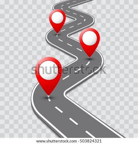 road map with pathway route pin icon on the way track vector roadmap template design