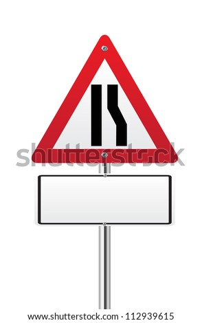 Road narrows sign right side on white - stock vector