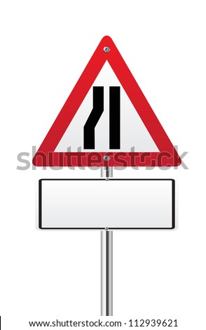 Road narrows traffic sign left side on white - stock vector