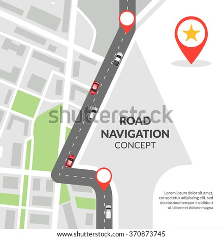 Road navigation concept with city map with pins and road with cars flat vector illustration - stock vector