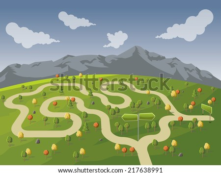 Road on green park with forked road sign. Multiple options. - stock vector