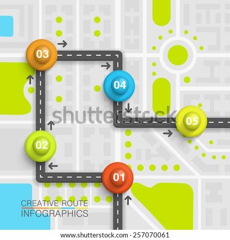 Road point information art map, Map location background, Road transportation arrow point, Vector illustration - stock vector