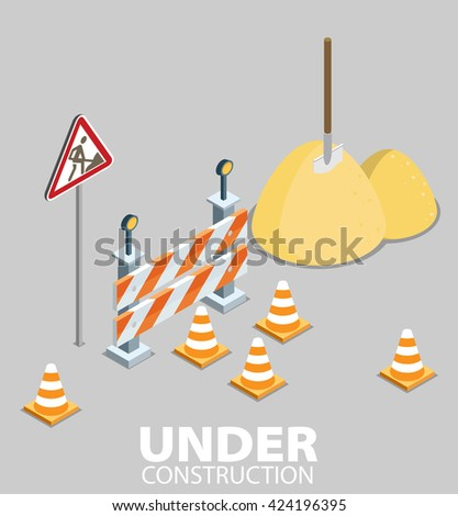 Road repair, under construction road sign, repairs, maintenance and construction of pavement. Flat vector isometric illustration - stock vector