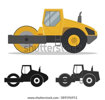 Road roller - stock vector