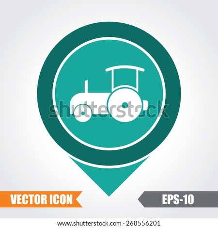 Road Roller Icon On Map Pointer. Eps.-10. - stock vector