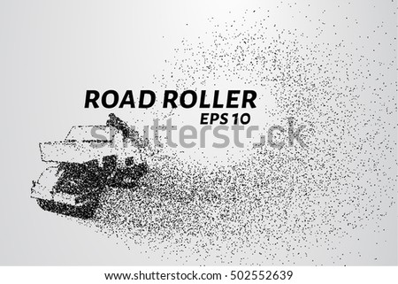Road roller of particles. Road roller lays the asphalt. Vector illustration