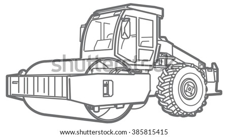 Road Roller outline. Asphalt paver - stock vector