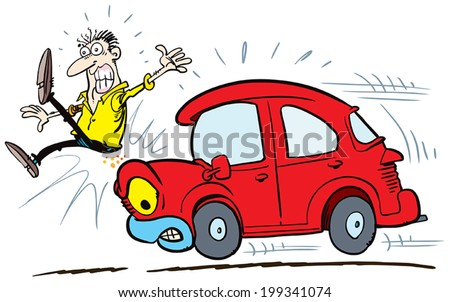 Road Safety Man About To Be Hit By A Car Vector Illustration
