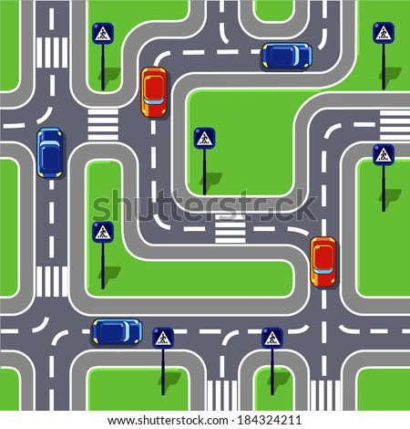 Road seamless pattern with cars, road signs, crossroads and grass area.