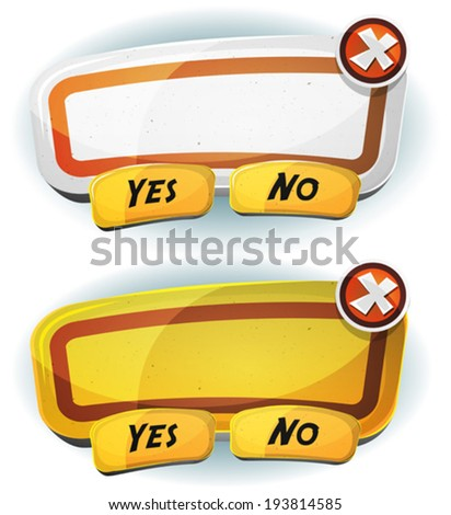 Road Sign Agreement Panel For Ui Game/ Illustration of a set of two cartoon road sign design information panel including yes and no buttons, for funny terms and conditions agreement app on tablet pc - stock vector