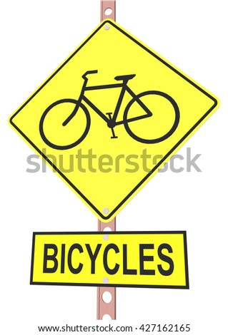 """road sign and a sign with the text """"BICYCLES"""" - stock vector"""