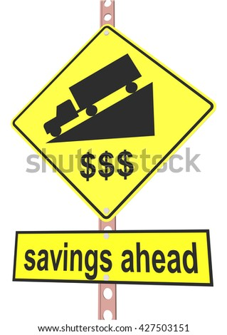 "road sign and a sign with the text ""savings ahead"" - stock vector"