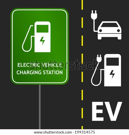 Road sign and marks design for electric car charging station or point - stock vector