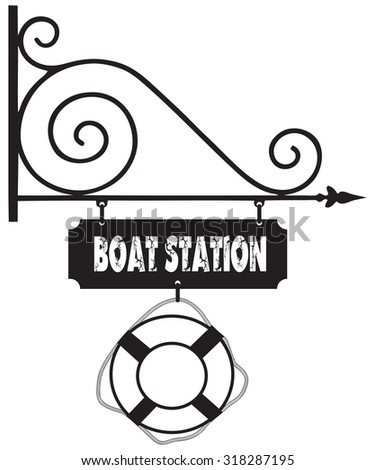 Road sign at the boat station, with a lifeline. Vector illustration. - stock vector