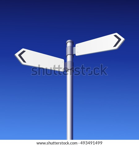 Road Sign Empty White on Blue Sky - Vector Illustration