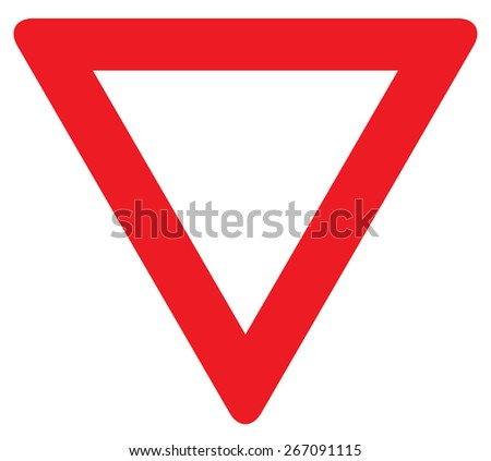 road sign give way isolated. vector illustration - stock vector