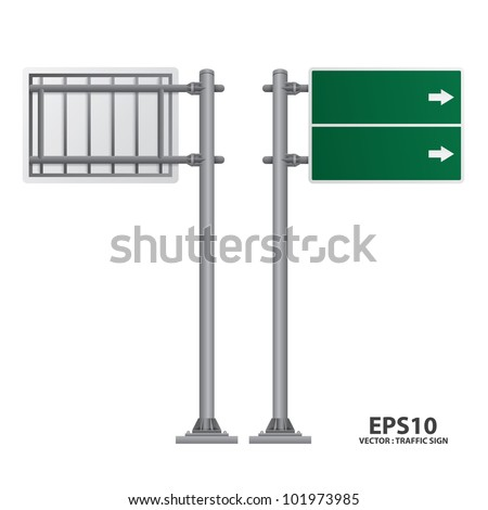 road sign green color vector - stock vector