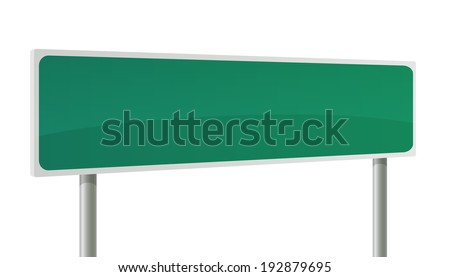 Road sign - green rectangle on the pillar.