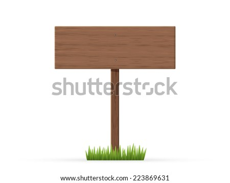 Road sign on a grass - stock vector