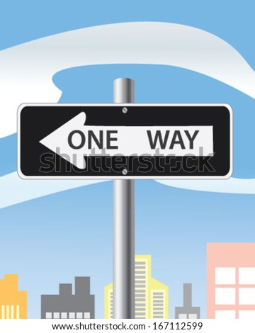 """Road sign """"one way"""" in the city - stock vector"""