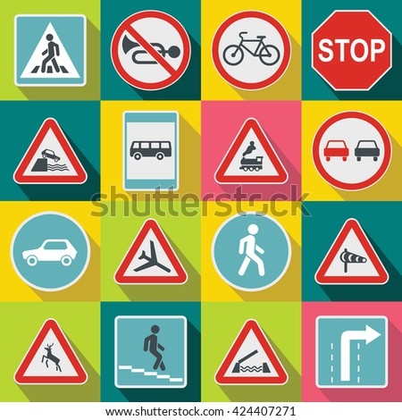 Road Sign Set in flat style for any design