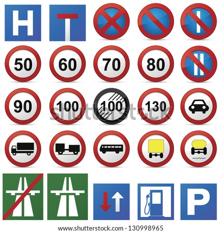 Road sign set.Vector - stock vector