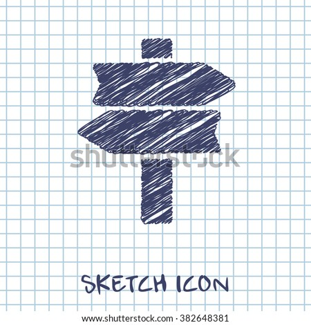 road sign vector doodle icon. Sketch illustration  - stock vector