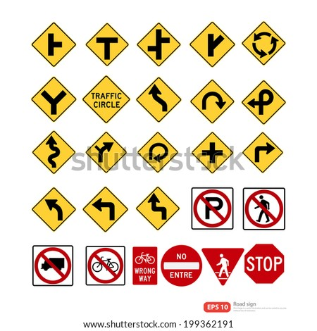 Road sign vector format - stock vector