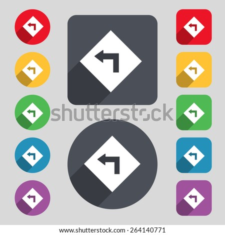 Road sign warning of dangerous left curve icon sign. A set of 12 colored buttons and a long shadow. Flat design. Vector - stock vector