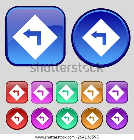 Road sign warning of dangerous left curve icon sign. A set of twelve vintage buttons for your design. Vector illustration - stock vector